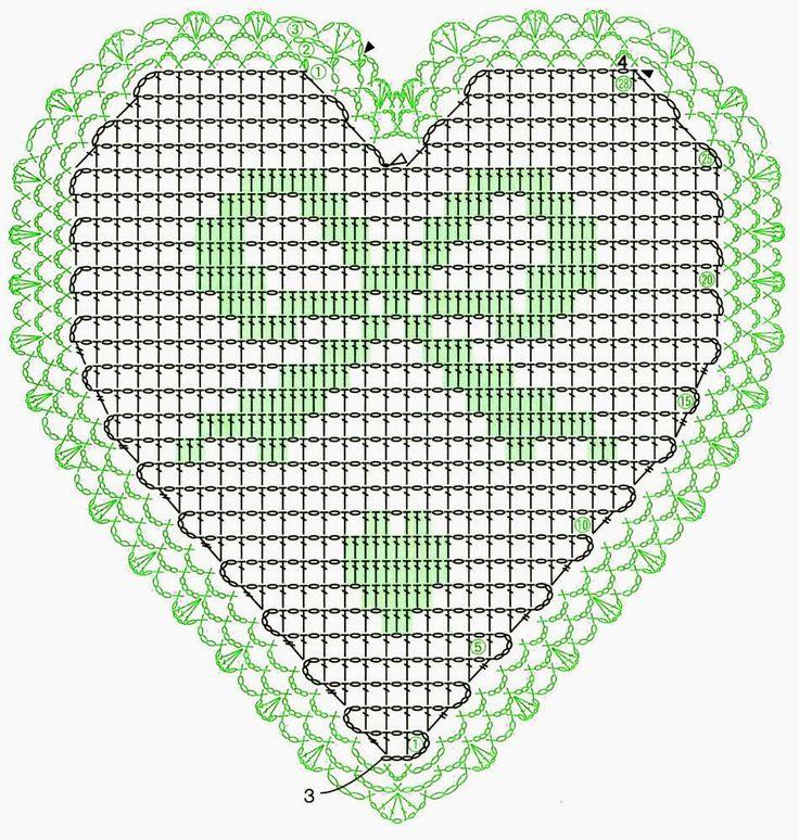 Heart crochet chart. Pattern from 'Lace Crochet Best Pattern 148. Part 2.'