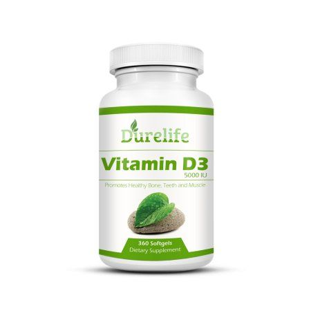 Vitamin D3 5000 iu 360 Count High Potency Mini Softgels in Cold-Pressed Organic Extra Virgin Olive Oil for Better Absorption By DureLife Non-GMO. Supports Bone Muscle And Immune System