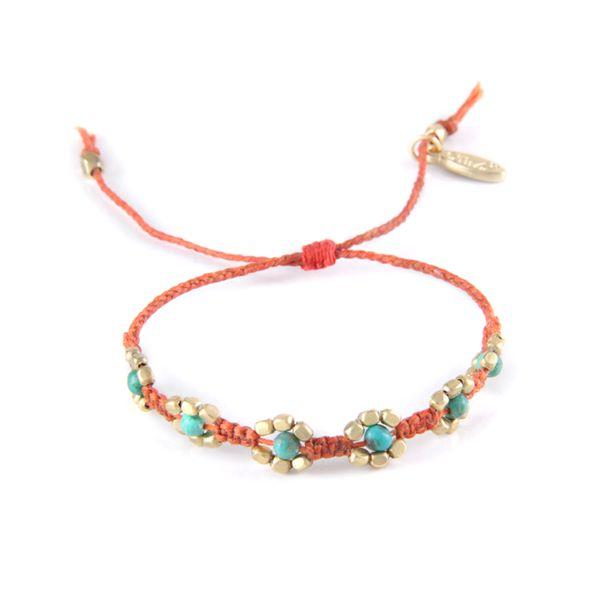 Bracelets :: Beaded :: Desert Flower Bracelet in Orange and Turquoise