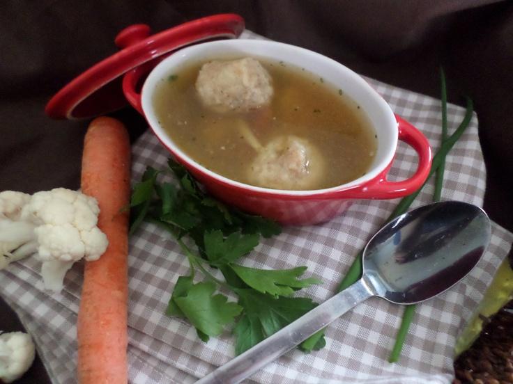 Vegetable soup with little dumplings   Gemüsesuppe mit Mini-Knödeln