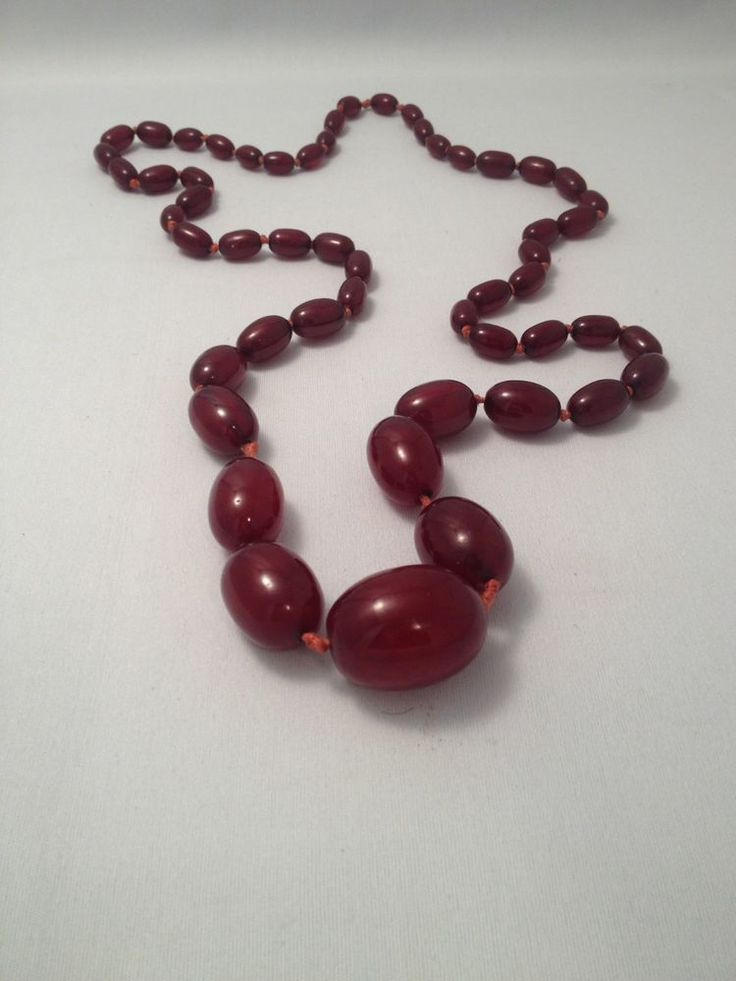 Vintage Art Deco Cherry Amber BAKELITE  Bead Necklace 55 GRAMS Tested