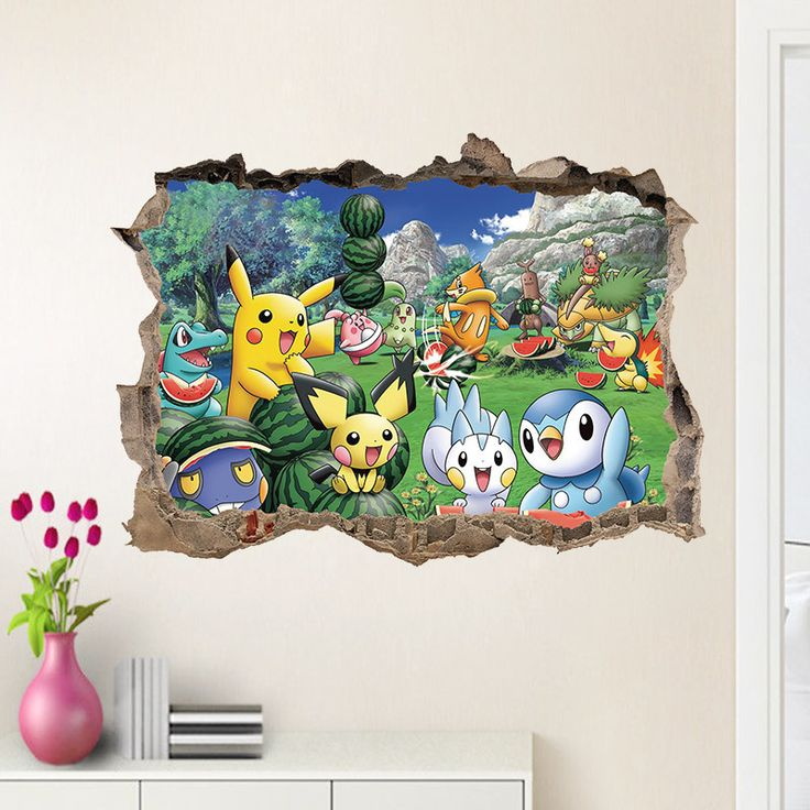 NEW 3D Cartoon Pokemon Go Wall Stickers For Kids Rooms Pikachu Wall Decals Poster Room Decoration Mural Nursery Play Room Decals