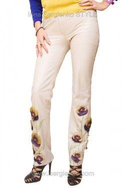 Кожаные брюки с аппликацией цветами из кожи Анютины глазки