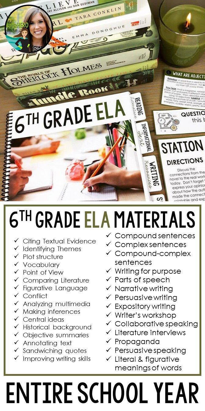 6th Grade English Language Arts Resources For An Entire