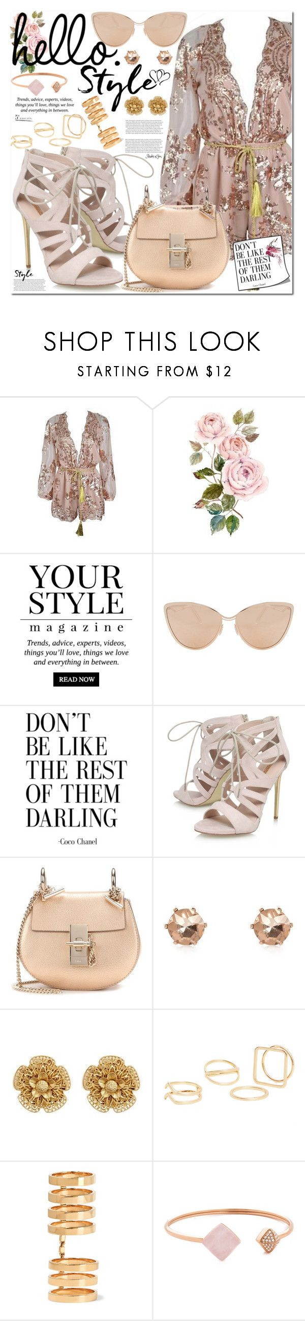 """""""metallic playsuit"""" by misskouture ❤ liked on Polyvore featuring Pussycat, Cutler and Gross, Carvela, Chloé, River Island, Miriam Haskell, MANGO, Repossi, Michael Kors and rosegold"""