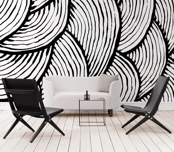 Removable Wallpaper Peel And Stick Wallpaper Wall Paper Wall Etsy Black And White Wallpaper Removable Wallpaper White Wallpaper