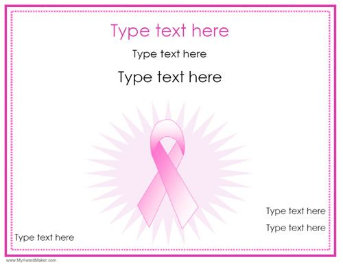 breast cancer awareness gift certificate templates