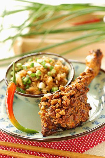 Pollo rebozado en kikos con guacamole