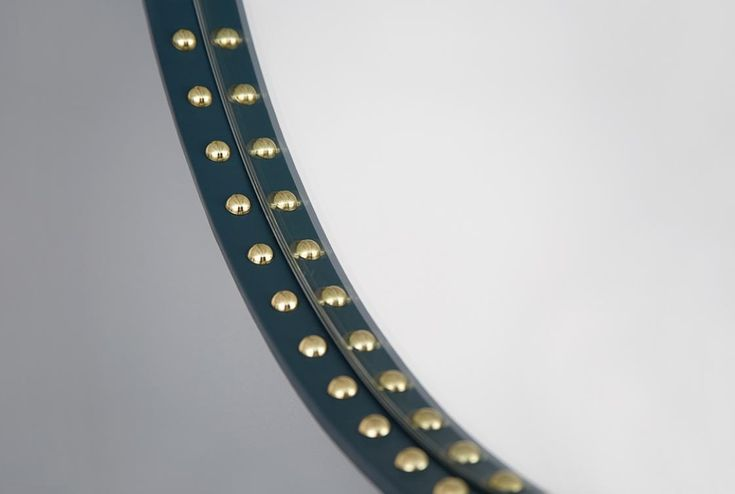 Stud teal leather and brass mirror http://bethangray.com/products/stud-round-mirror