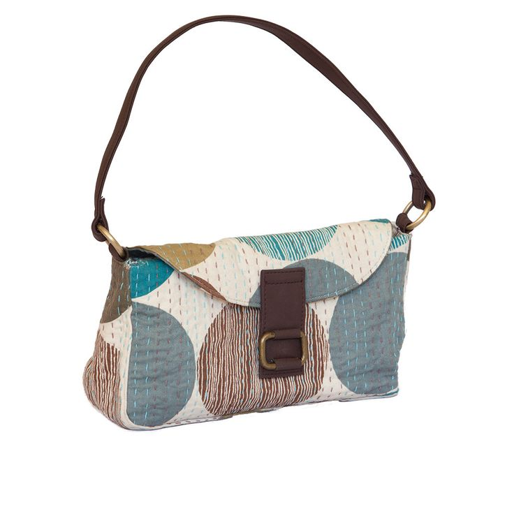 Handmade Kantha Purse - Polka Dot Blue with brown handle | The Hues of India