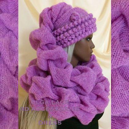 Купить Вязаная 3D шапка - шарф - вязаная шапка, шапка шарф, розовая шапка, сиреневый