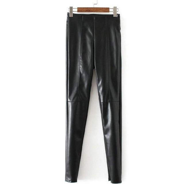 Tangada Fashion Women Faux Leather Silver Trousers Warm Thicken Winter Pu Leather Pants High Waist Pencil Skinny Leggings Female