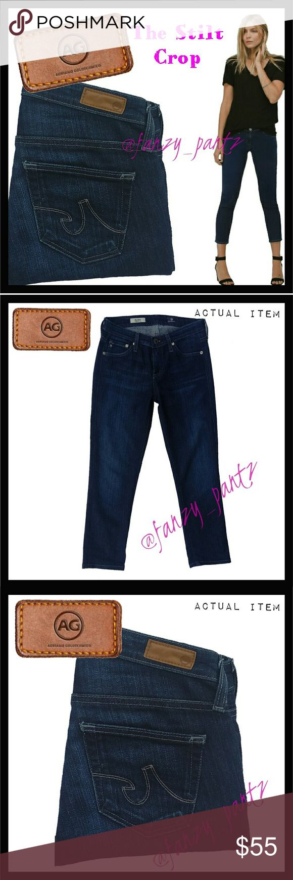 🌷 AG the Stilt Crop Jeans size 25 Adriano Goldschmied The Stilt Crop size 25. The wash is CCD, a dark blue with light feathering through the thighs. Stock photo is close but not the exact wash, it's to show the fit/style. All other photos are of the actual item for sale. These have been professionally hemmed. Measurements in the last photo. NO TRADES PLEASE! OFFERS WELCOME THROUGH OFFER FEATURE ONLY PLEASE!  371755 AG Adriano Goldschmied Jeans Ankle & Cropped