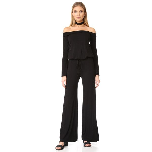 Feel The Piece Azusa Off Shoulder Jumpsuit ($120) ❤ liked on Polyvore featuring jumpsuits, black, wide leg jumpsuits, feel the piece, jump suit, long jumpsuits and bell sleeve jumpsuit