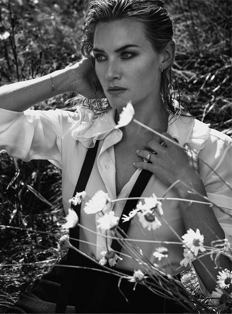 Стильная черно-белая фотосессия с актрисой Кейт Уинслет (Kate Winslet) для издания The Edit октябрь 2015.