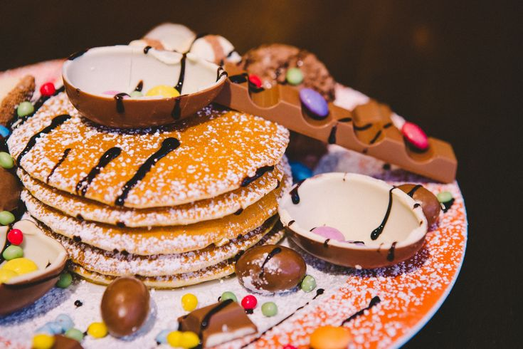 Pancakes with kinder egg, nutella and chocolate. My Old Dutch Pancake Day In London
