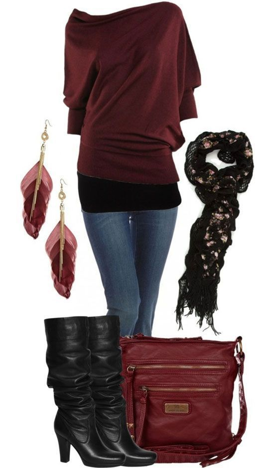 New dark red sweater jeans feather ear rings high heel shoes and handbag for ladies.