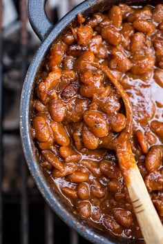 """Sweet 'n Smokey Bourbon """"Baked"""" Beans with Thick-cut Apple Smoked Bacon, Maple Cracked Black Pepper"""