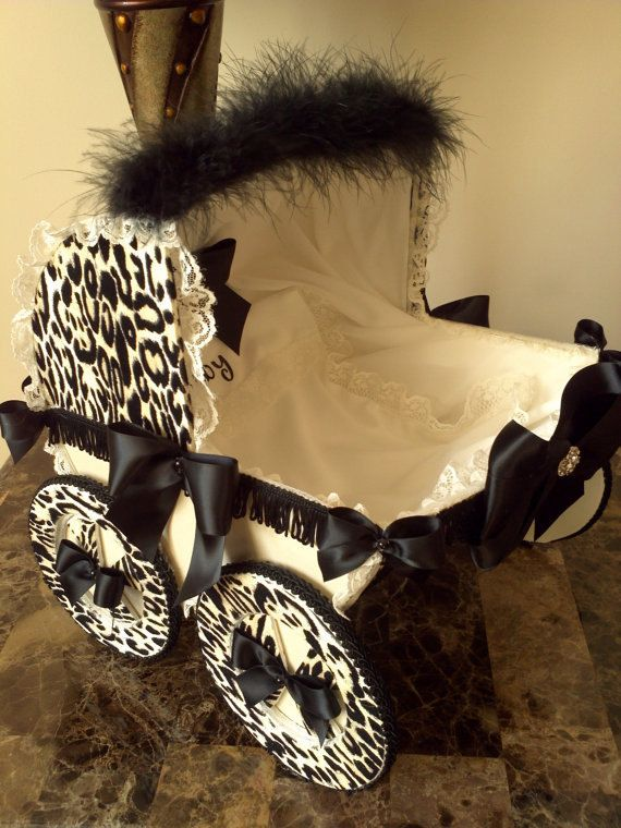The Brittany 14 Inch Beige And Black Leopard Baby Carriage / Cheetah Baby Carriage Centerpiece