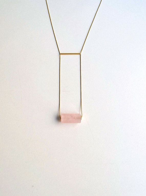 LAST PIECES Geometric Rose Quartz necklace by OhBIJOUXpt on Etsy, $28.00