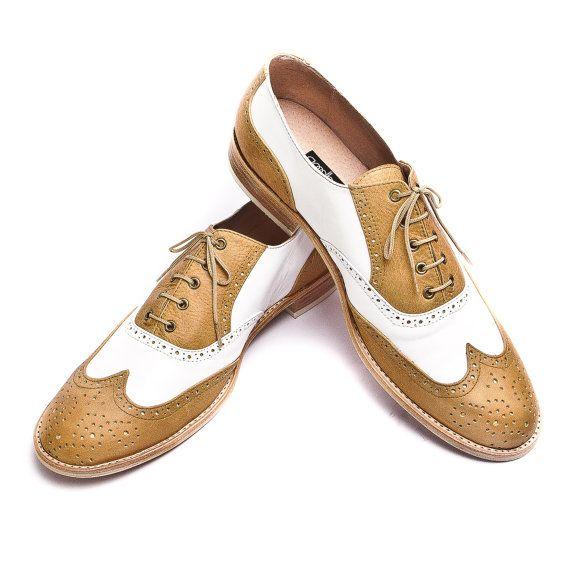 Miele marrone e bianco scarpe oxford di accento - la spedizione gratuita in tutto il mondo