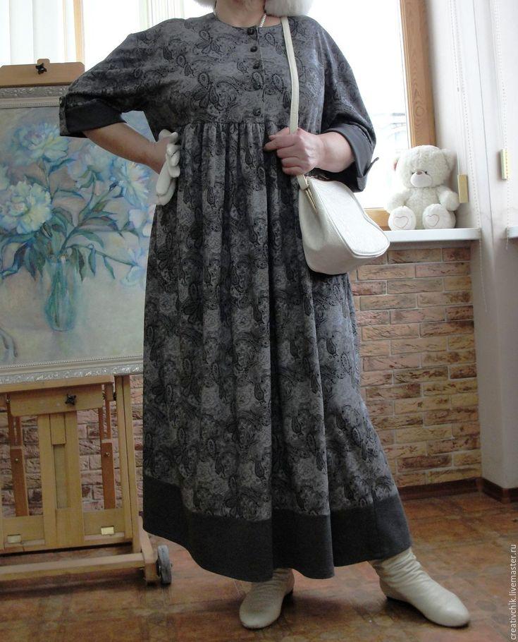Купить Платье трикотажное Очарование женственности - платье серое трикотажное, трикотаж огурцы пейсли