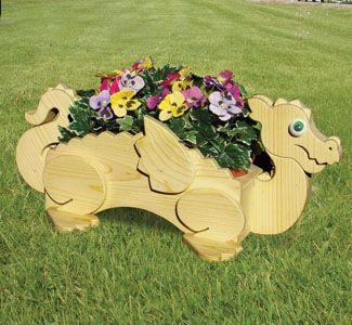 Wooden Animal Planters | Planter Woodworking Plans - Dragon Flower Pot Planter Wood Plan