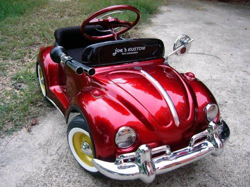 Red Classic Volkswaken beetle pedal car custom handmade top class full option for kid or Decorate