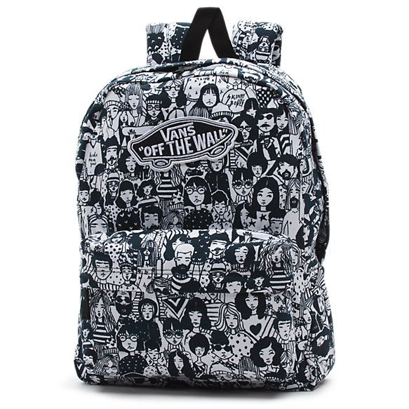 The Realm Backpack is a 100% cotton backpack with 100% polyester lining. Measuring 16.75 L x 12.75 W x 4.75 D inches, it features a zippered main compartment, a front organization pocket, adjustable padded straps, a Vans OTW logo patch, and a 22-liter capacity.
