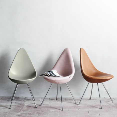 """Drop Chair"" - 1958 Designed alongside the egg and swan but was only used for the guest bedrooms at the Radisson Blu Royal Hotel in Copenhagen then. This is considered a prize collection and had been discontinued for 50 over years but has recently relaunched this style."