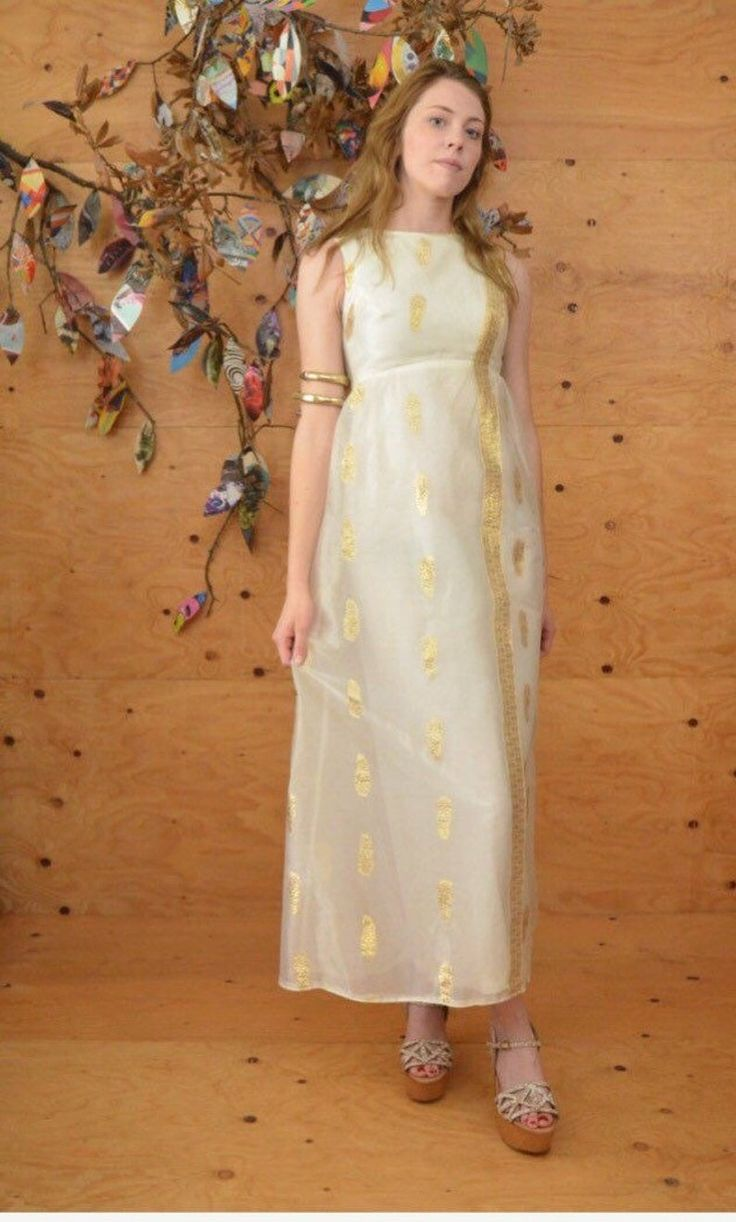 Vintage 60's maxi dress white and gold sari inspired