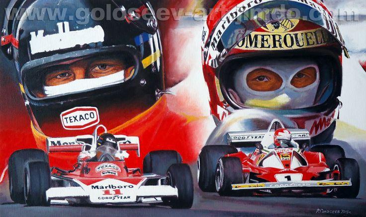 """Hurry, James Hunt McLaren M23B and Niki Lauda Ferrari 312T2, 1976god"", 30x50 cm, canvas.oil. 31.07.2013 ""Торопить, Джеймс Хант McLaren M23B и Ники Лауда Ferrari 312T2, 1976год"", 30х50 см, холст.масло. 31.07.2013"