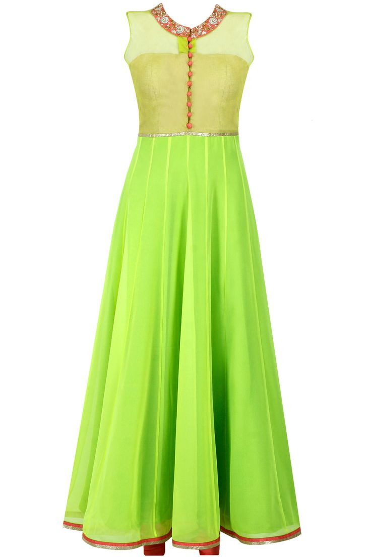 Neon green and pink embroidered anarkali - Featuring a neon green georgette anarkali with ribbon pitta embroidered neckline on net yoke and polti button in front.  It comes along with pink shantoon churidaar and matching net dupatta. - SVA
