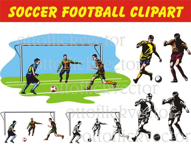 SOCCER FOOTBALL Vector CLIPART, eps, ai, cdr, png, jpg files, football pitch, soccer players silhouettes and cartoon by ottoflickvector on Etsy
