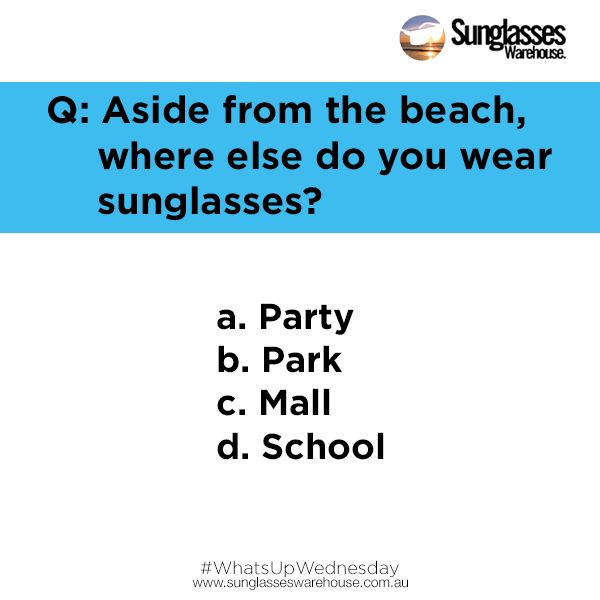 #WhatsupWednesday: Who says the beach is the only place where sunglasses can be worn?  Don't have a pair? Get one now at www.sunglasseswarehouse.com.au