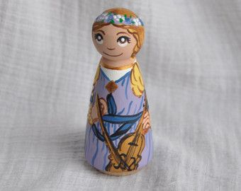 St Cecelia Wooden Hand-painted Saint Doll / Made to Order / Patron Saint of Music and Musicians