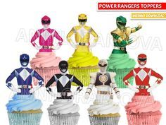 Power Rangers cupcake toppers/ Power Ranger Printables/ Mighty Morphin Power Rangers cupcake toppers, Instant Download/ You Print 50% OFF by ANNILORACK on Etsy