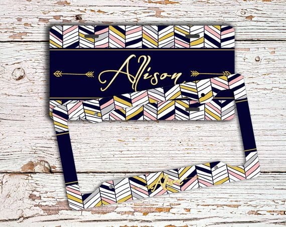 Personalized front license plate or frame, Aztec keychain, Chevron car tag, Tribal bicycle plate, Chevron seat belt strap cover (1426)