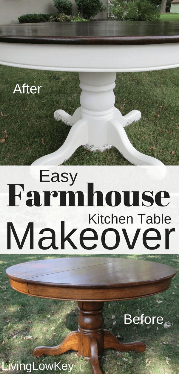 Look how amazing this round DIY Farmhouse Table turned out! The best part about doing DIY projects yourself is that you'll save money! Learn how we ended up saving money with this budget-friendly project so you can do it too!! I'm in love with how this furniture project turned out. #Makeover #FarmhouseTable #DIY #KitchenTable