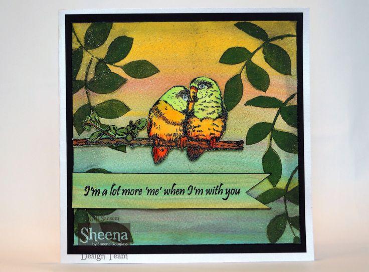 sample card made using Sheena Douglass temptingly tropical lovebirds.