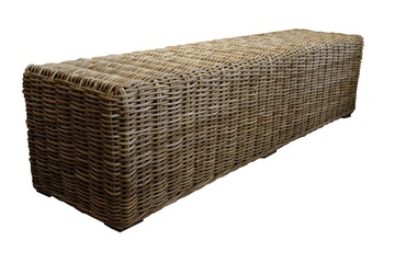 #TAIGANHOLIDAY Rattan bench in gray wash finishh18 x w71 x d18