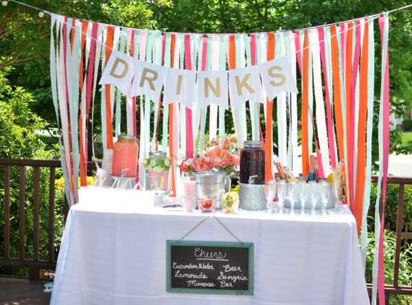 Engagement party drink display | Southern Weddings & newlywedmcgees.blogspot.com