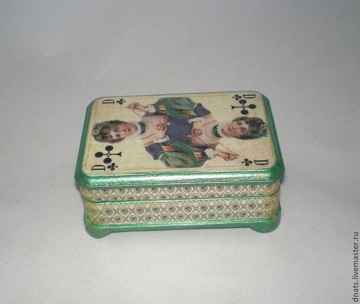 "Шкатулка для карт или визиток "" Дама крестей"" - шкатулка,шкатулка декупаж"