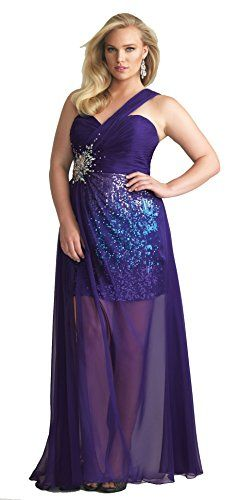 Fashion Bug One Shoulder Plus Size Prom Dress Purple www ...