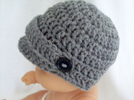 Just ordered for Jaxon! Part of his coming home outfit. Newsboy Hat, Baby Boy Hat, Grey Visor Cap Newborn to 12 months, $11.50