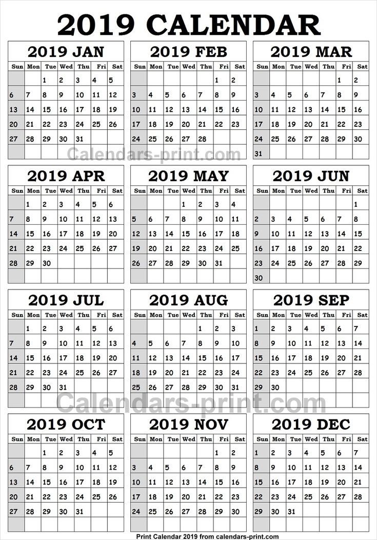 Pin by Calendars Print on 2019 Yearly Calendar | 2019 ...