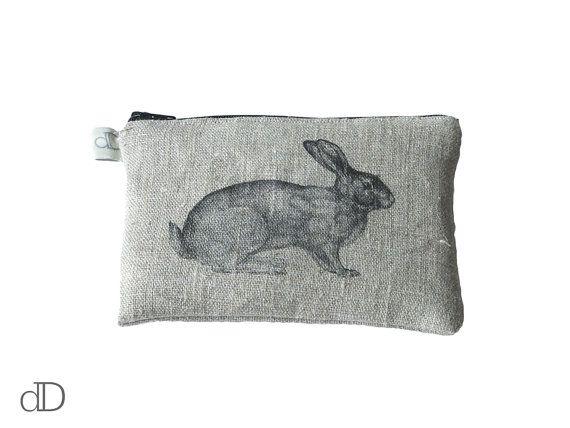 Make Up Bag / Cosmetic Bag /  Purse with Bunny print on linen