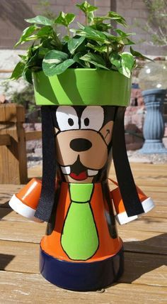 Goofy Clay Pots - Garden Decoration - planter - yard art - terracotta pots craft - image only