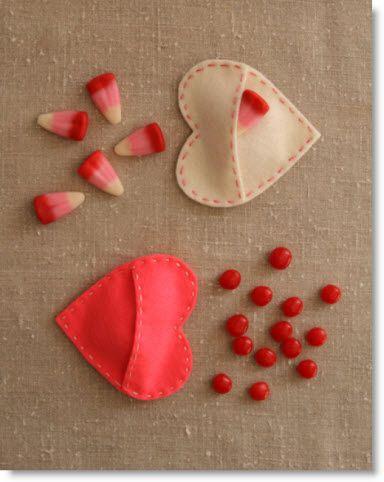 Felt Pocket Hearts for Valentines Day
