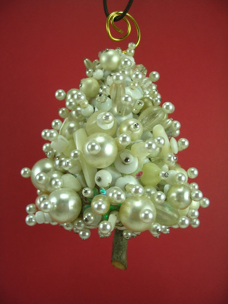 Snowy White Beaded Christmas Tree Ornament  via Etsy.